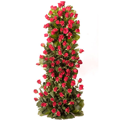 100 stalk of premium Red Roses arranged with the help of stand with lush green fillers in it.