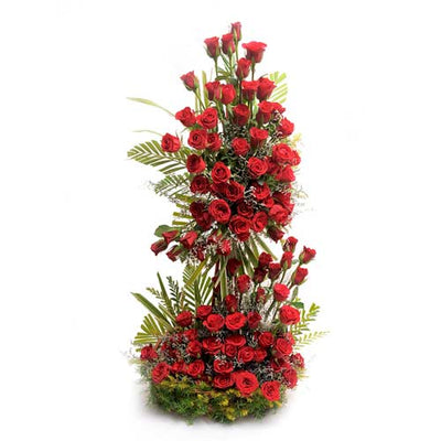 80 stem red roses TWO tier arrangement nicely arranged with our expert designer with the help of stand.