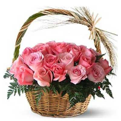 Basket of 25 Premium Pink Roses 