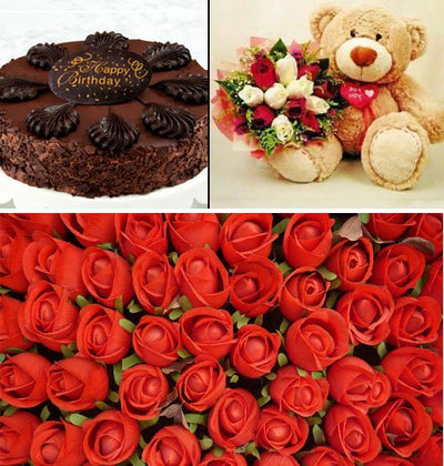 100 Stem Premium Red Roses Hand bunch