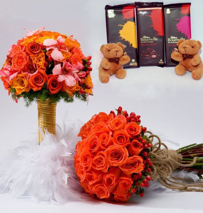 Two premium bouquet with 24 stem roses and 40 stem Roses and Exotic Lily arranged nicely 