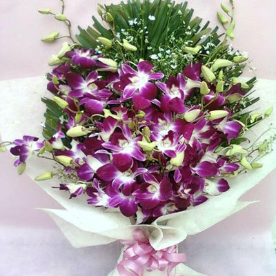 10 Stem purple orchids bouquet