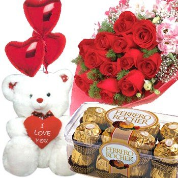Dozen Red Roses bouquet with a 16 pcs Ferrero Rocher pack and a Small teddy bear (6 inch).