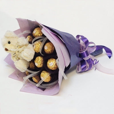 Ferrero Rocher 16 peaces bouquet arranged in a crape paper packing 