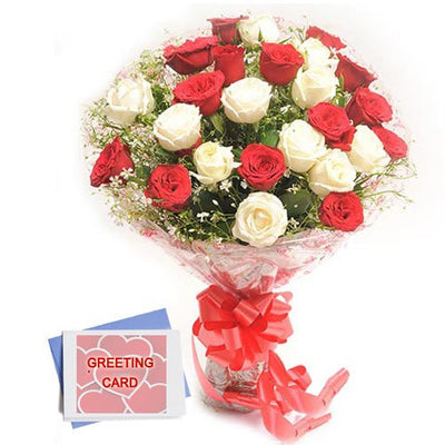 Two dozen red and white roses bouquet with a Occasional Greeting Card.