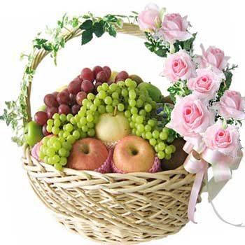 6 KG Fresh Fruits Basket (Seasonal Fruits) with 10 stalks of Pink Roses decorated with basket.