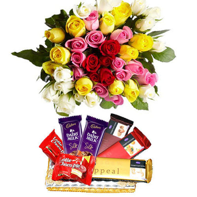 20 Mixed color roses bouquet