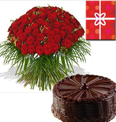 100 Red Roses Hand bunch