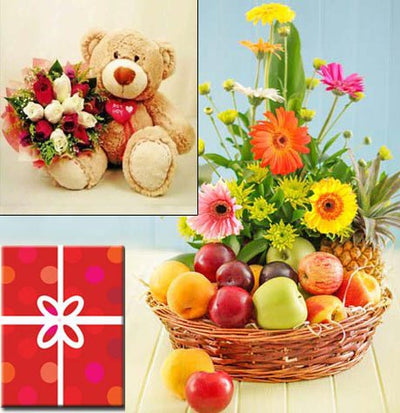 5 Kg Fresh Fruits Basket (Seasonal Fruits) with 15 stem daisy flower decorated with it 