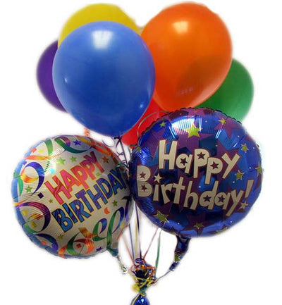 Balloons Bouquet - Two Birthday Printed Mylar Balloons & Five Airfilled Latex Balloons