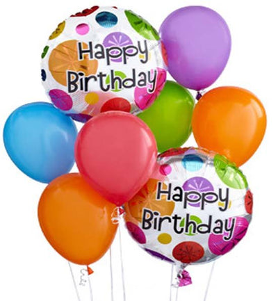 Birthday Balloons Bouquet [Two Birthday Printed Mylar Balloons & Eight Airfilled Latex Balloons]