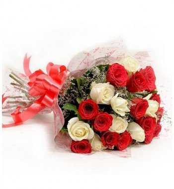 20 Stem white and Red Roses bouquet.