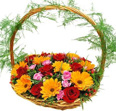 20+ Flowers Arranged in a Basket.