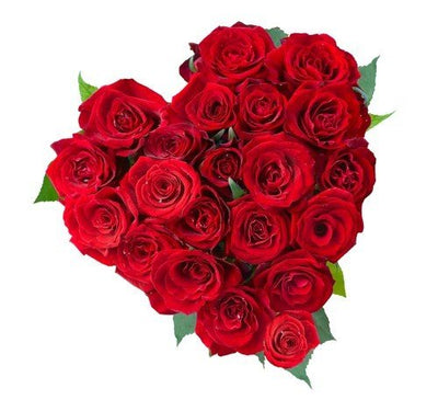 Heart shape arrangement of 30 Red Roses.