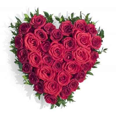 •	40 Red roses heart shape arrangement.