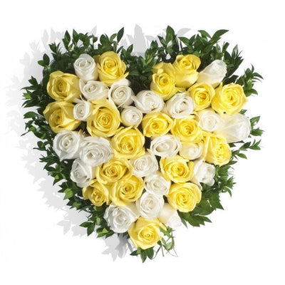 •	40 roses(yellow and white) heart shape arrangement.