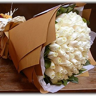 60 White Roses Bunch with Special Paper packing