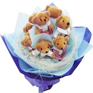 Bouquet of 5  small teddies (6 inch each) arranged in the form of bouquet with special packing on it.