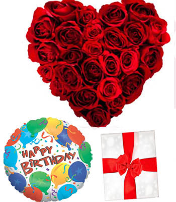 "Heart shape arrangement of 36 Red Roses with a Premium ""Birthday Printed"" Mylar Balloon with stick (Aprox 1.8 Feet Large).
