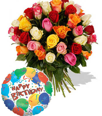 "50 Mixed Roses hand bunch with a Premium ""Birthday Printed"" Mylar Balloon with stick (Aprox 1.8 Feet Large)."
