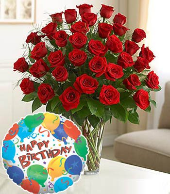 "50 Red Roses bouquet with Premium ""Birthday Printed"" Mylar Balloon with stick (Aprox 1.8 Feet Large)."