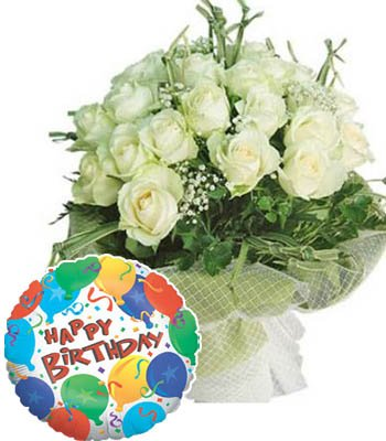 "20 White Roses bouquet with a Premium ""Birthday Printed"" Mylar Balloon with stick (Aprox 1.8 Feet Large)."