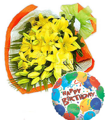 "5 Stem Yellow Lilies Bouquet & a Premium ""Birthday Printed"" Mylar Balloon with stick (Aprox 1.8 Feet Large)."