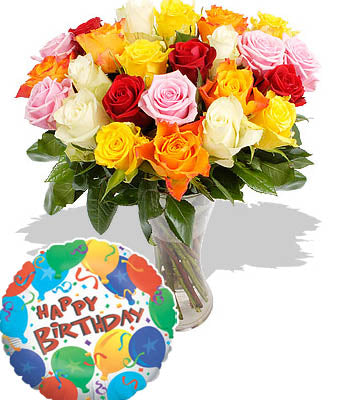 "20 Elegant Mixed Rose bouquet with a Premium ""Birthday Printed"" Mylar Balloon with stick (Aprox 1.8 Feet Large)."
