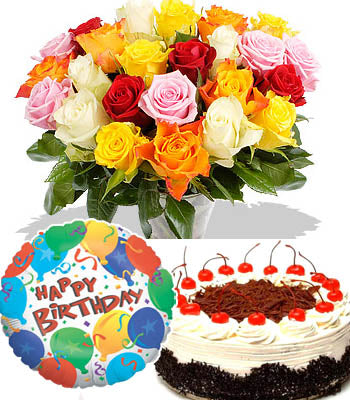 "20 Mixed elegant roses bouquet with a 1 pound delicious black forest cake and a Premium ""Birthday Printed"" Mylar Balloon with stick (Aprox 1.8 Feet Large)."