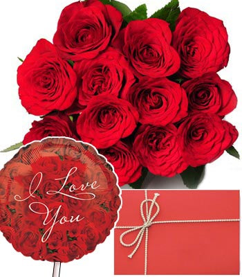 "Dozen Red Roses bouquet with Love you greeting card & a Premium ""I Love U"" Mylar Balloon with stick (Aprox 1.8 Feet Large)."
