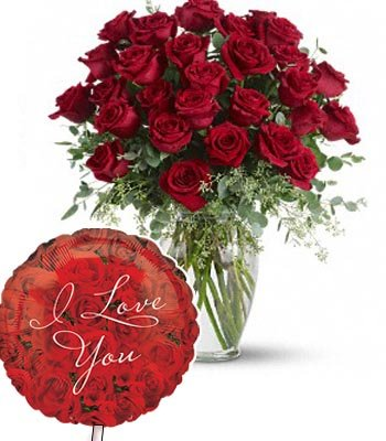"18 Stem Red Roses bouquet with a Premium ""I Love U"" Mylar Balloon with stick (Aprox 1.8 Feet Large)