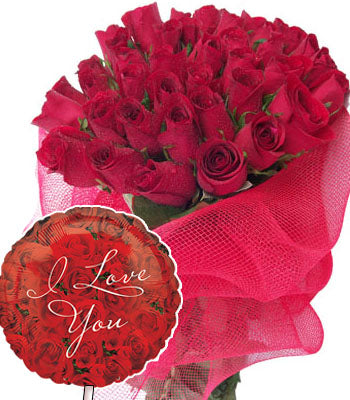 Two dozen red roses bouquet wrapped in cellophane packing