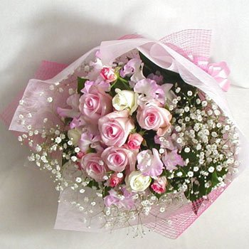 Two dozen Pink and white Roses bouquet.