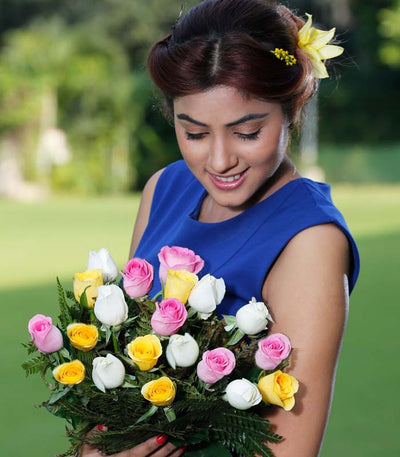 24 Mixed Color Roses bouquet