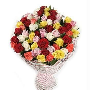 Bunch of 40 Multi-Color roses wrapped nicely in cellophane sheet packing.