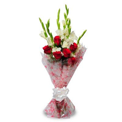 Bouquet of 6 Red Roses and 6 white gladiolus paired with a classic cellophane wrap.