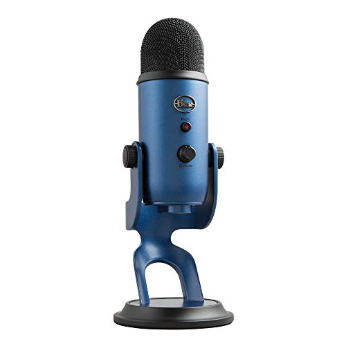 Blue Yeti USB Mic for Recording and Streaming on PC and Mac,3 Condenser Capsules,4 Pickup Patterns,Headphone Output & Volume Control,Mic Gain Control, Plug & Play (Midnight Blue)