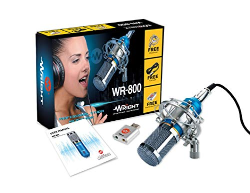 WRIGHT WR 800 CONDENSER MICROPHONE WITH USB SOUND CARD FOR PODCAST AND STUDIO MIC – BLUE