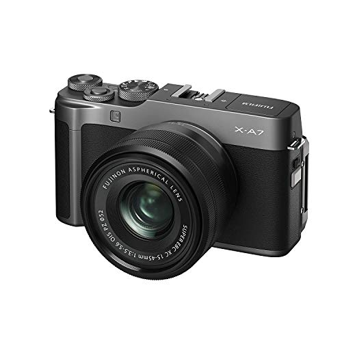 "Fujifilm X-A7 24.2 MP Mirrorless Camera with XC 15-45 mm Lens (APS-C Sensor, Large 3.5"" Vari-Angle Touchscreen, Face/Eye Auto Focus, 4K Video Vlogging, Blur Control, Film Simulations) - Dark Silver"