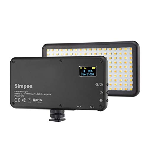 Simpex LED 180 with Build in Battery. Portable LED Video Light with Color Temperature 3200k-560k. Mobile LED Video Light