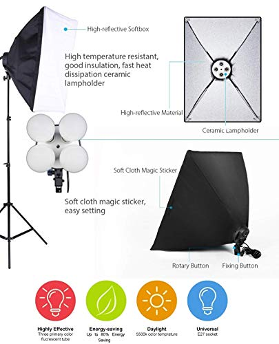 OCTOVA PRO Quadlux Mark II Softbox Lighting Kit Double, Led Still & Video Light with AC Power, YouTube Shooting, Videography, Portrait, Product Photography, Soft Box Studio Interview Equipment