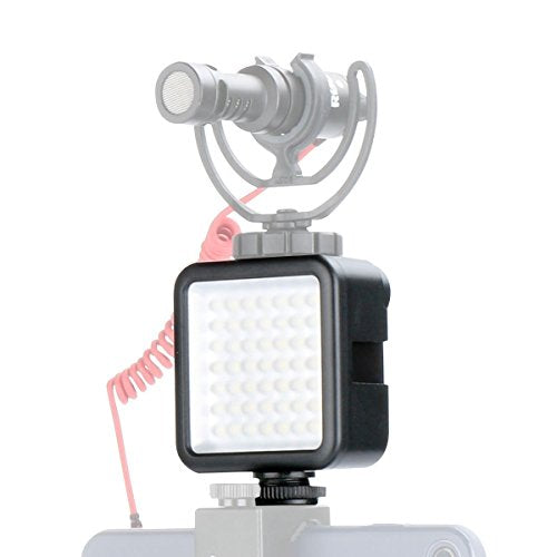Ulanzi Ultra Bright LED Video Light - LED 49 Dimmable High Power Panel Video Light with 3 Cold Shoe Mount for DJI OSMO Mobile 2 Zhiyun Smooth 4 Gimbals Canon Nikon Sony Digital DSLR Cameras