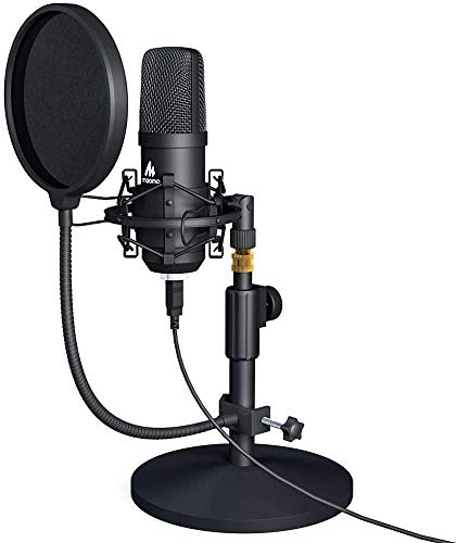 Maono AU-A04T USB Condenser Podcast PC Microphone Kit 192KHz/24Bit Sampling Rate with Pop Filter and Stand for Computer, YouTube and Gaming Recording