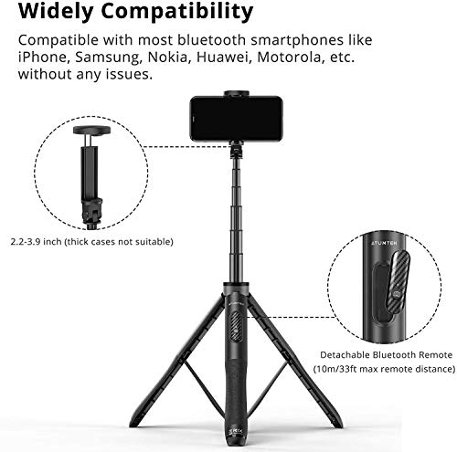 Mobilife Bluetooth Selfie Stick Tripod, Mini Extendable 3 in 1 Aluminum Selfie Stick with Wireless & Rechargeable Remote and Tripod Stand 270° Rotation for Smartphone (Black)