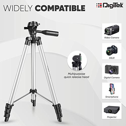 DIGITEK® DTR 455 LT (52 Inch) Tripod Mobile Holder and Carry Bag For DV Cameras and Smartphone | Max Operating Height - 4.26 Feet | Load Capacity-3 Kg | Lightweight & Sturdy Tripod with Adjustable 3 Way Pan Head (DTR 455 LT)