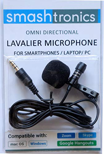Smashtronics - Collar Clip Microphone Omnidirectional Mic with Easy Clip On System Perfect for Recording Youtube/Interview/Video Conference/Podcast/iPhone/Android (SM10)