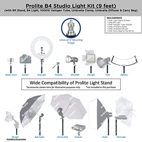 Prolite Studio B4 Continuous/Video Light Kit with 9 ft Light Stand, B4/Sungun, 1000W Halogen Tube, B-Bracket, Umbrella, Carry Bag for Photography & Videography