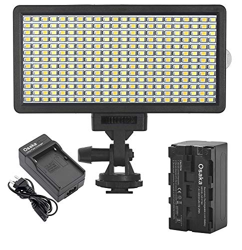 Osaka Bi-Color Dimmable LED Video Light OS-LED-308 Pocket LED Slim for All DSLR Video Cameras YouTube Video tiktok Photography Shooting with F750 Battery 8000 mAh and Fast Charger
