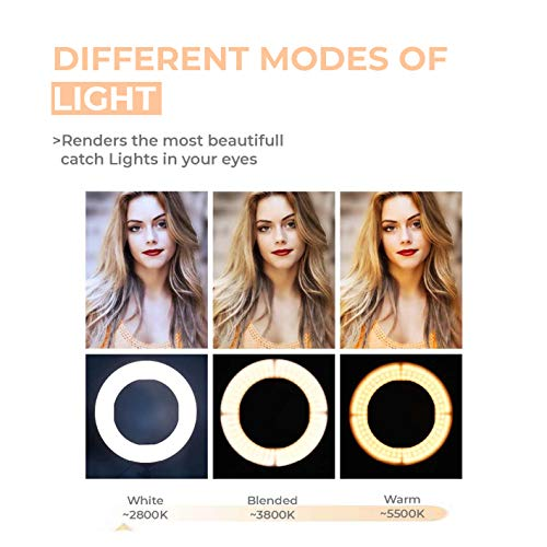 "Tygot 10"" Portable LED Ring Light with 3 Color Modes Dimmable Lighting 