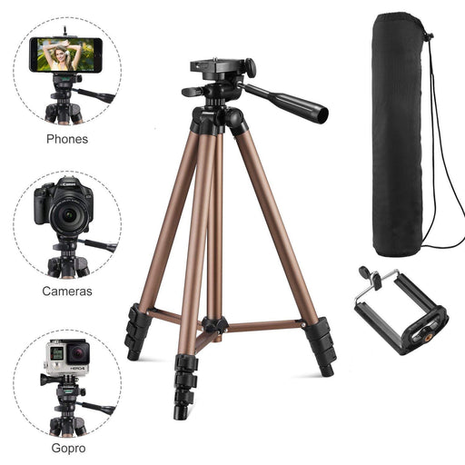 Syvo WT 3130 Aluminum Tripod (50inch), Video Tripod for Smartphone and Camera, Universal Tripod with Mobile Phone Holder Mount for All Smart Phone, Gopro (Color May Vary)